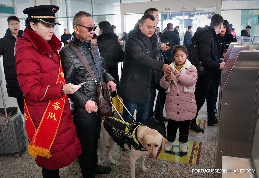 CHINA-HENAN-ZHENGZHOU-GUIDE DOG-SPRING FESTIVAL TRAVEL RUSH (CN)