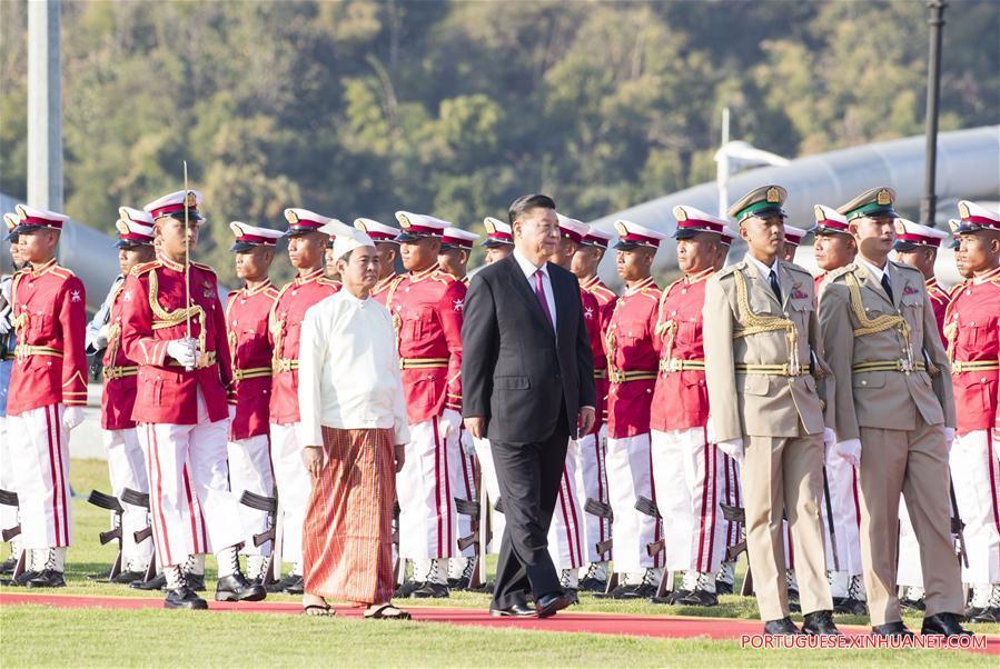 MYANMAR-NAY PYI TAW-CHINA-XI JINPING-PRESIDENT-WELCOME CEREMONY