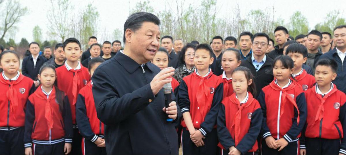 Xi enfatiza harmonia entre o ser humano e a natureza durante atividade de plantio de árvores