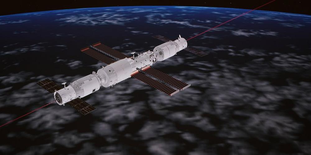 Nave espacial de carga da China atraca com módulo central da estação espacial