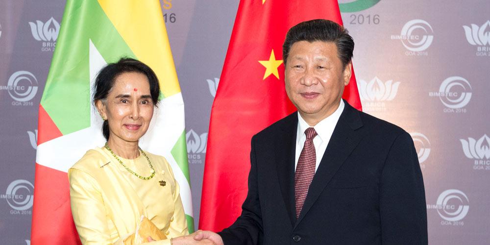 Presidente chinês encontra-se com Aung San Suu Kyi de Mianmar