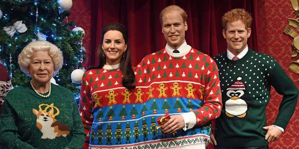 Estátuas de cera da família real britânica aparecem prontas para o Natal