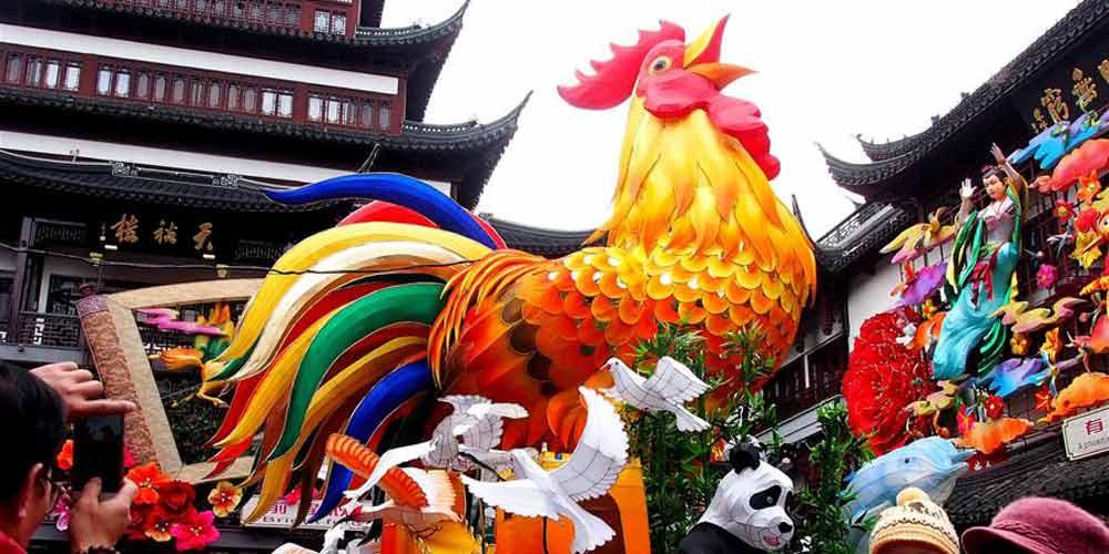 Decorações de Ano Novo Lunar Chinês em Shanghai