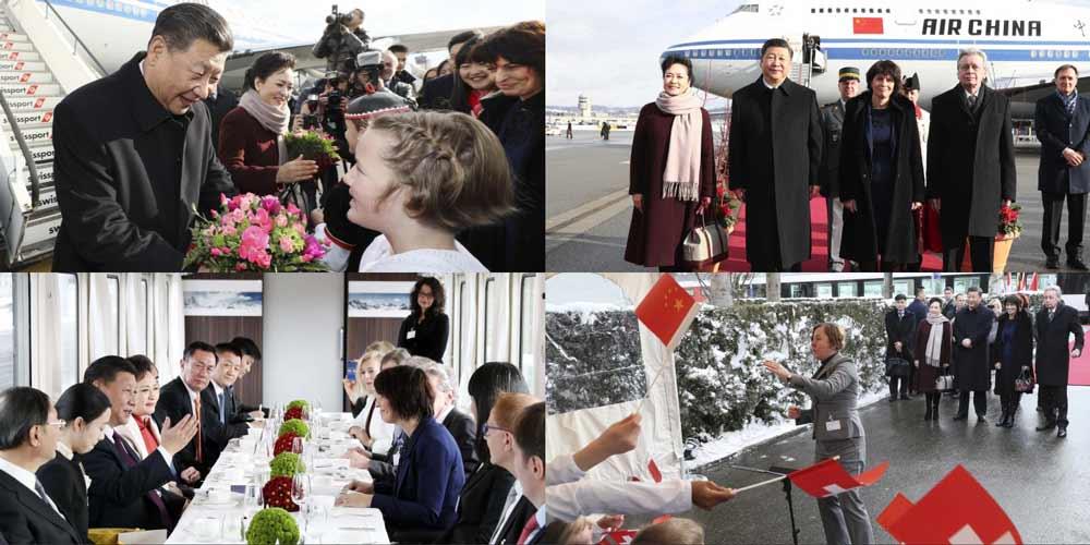 Visita do presidente chinês na Suíça (15 de janeiro) em imagens