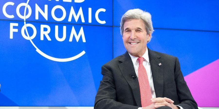 O secretário de Estado dos EUA, John Kerry, durante a 47ª reunião anual do FEM em Davos, Suiça