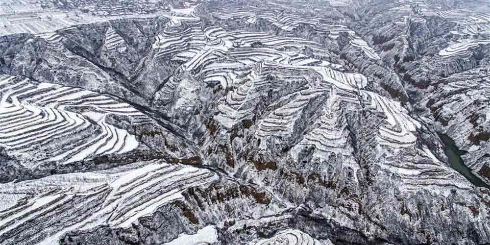 Neve cobre os terraços em Shanxi no norte da China