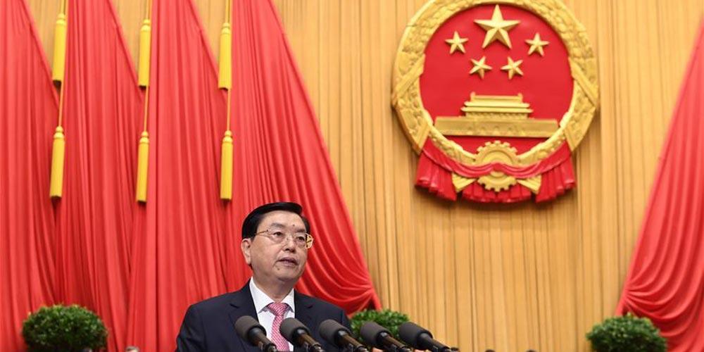 Zhang Dejiang apresenta relatório de trabalho do Comitê Permanente da APN