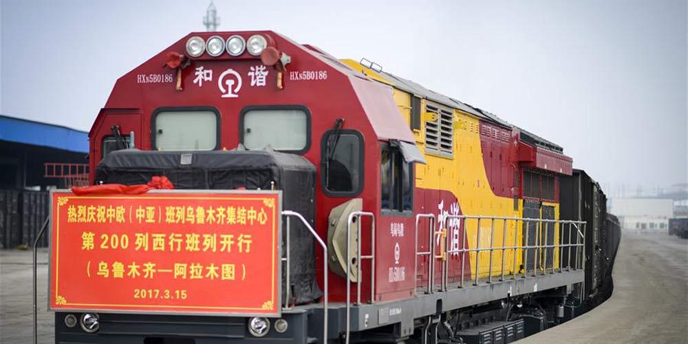 Centro de logística de Urumqi realiza 200 viagens de trem de carga em direção ao oeste