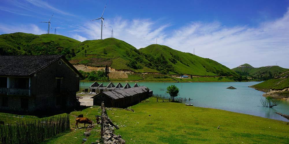 Parques eólicos em Guangxi no sul da China
