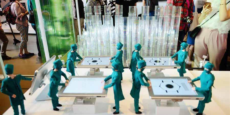 Exposição de obras de arte em Nanjing no leste da China