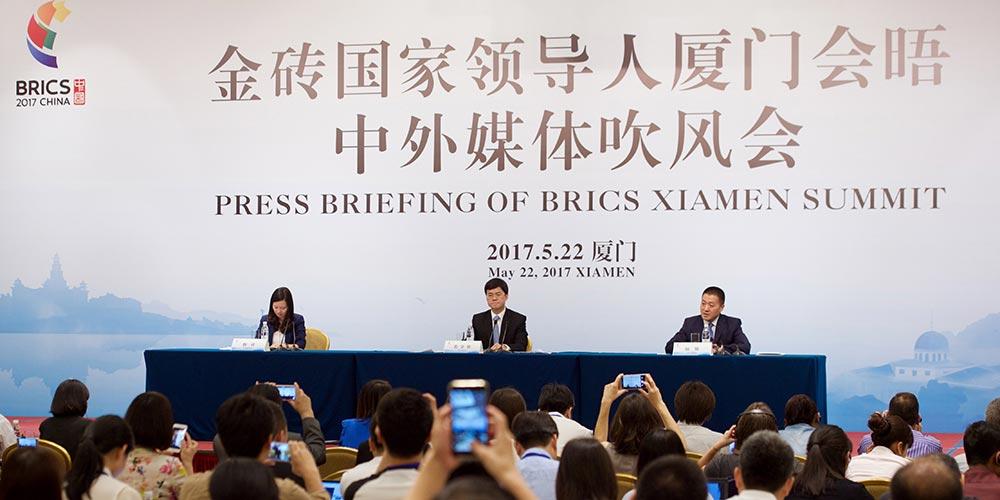 Conferência de imprensa da Cúpula do BRICS em Xiamen é realizada no sudeste da China