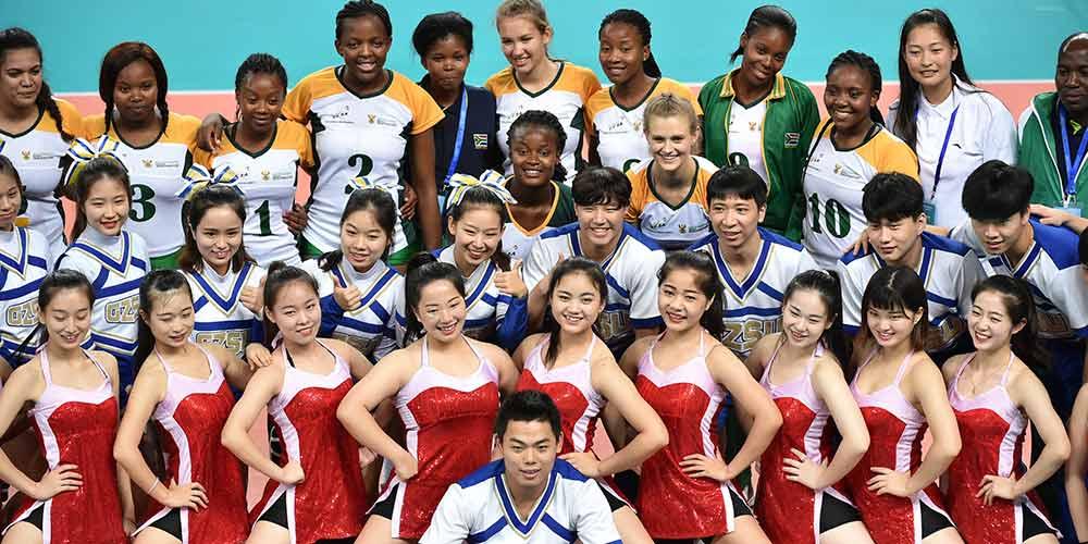 Partida de vôlei feminino nos Jogos do BRICS 2017: África do Sul vs. China