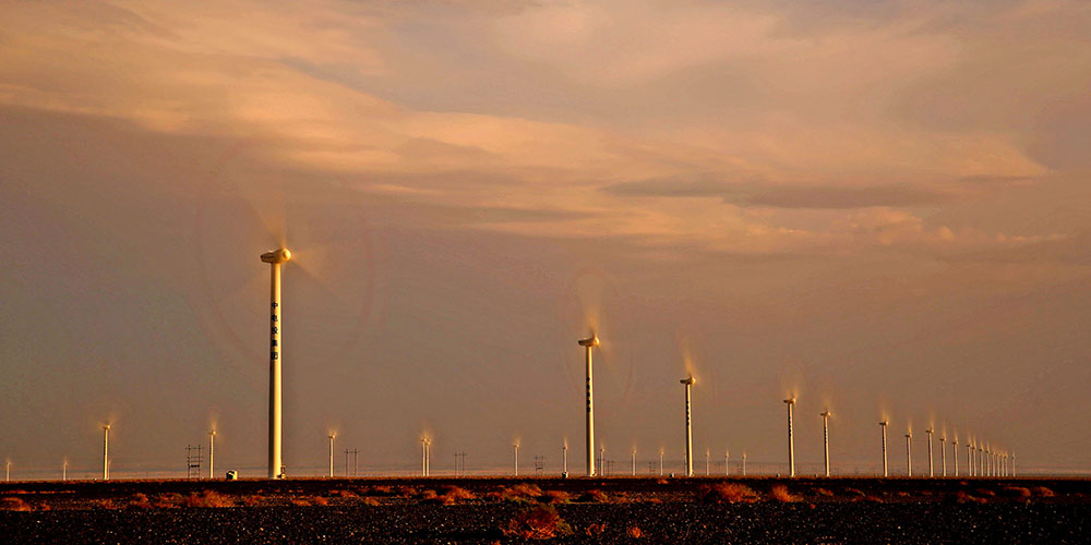 Base de Energia Eólica de Yandu em Hami, noroeste da China