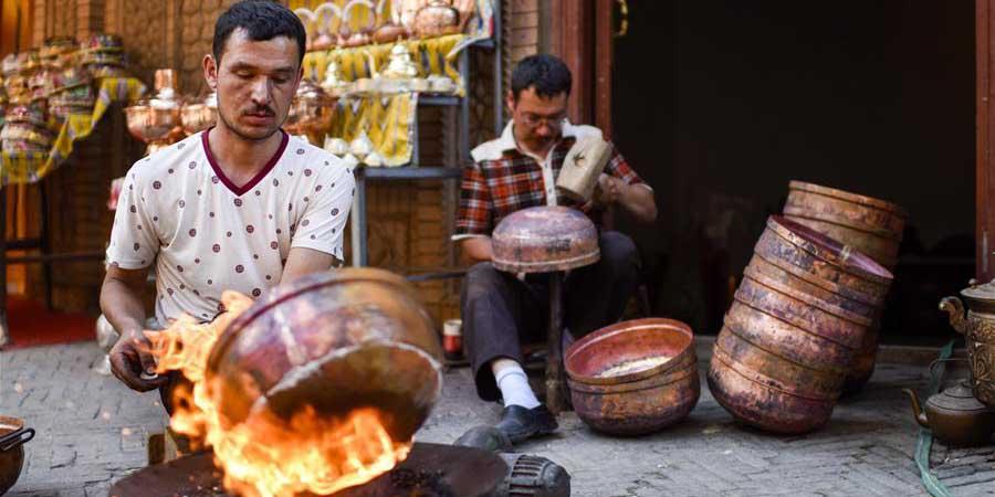 Bazaar Kantuman em Kashgar, Região Autônoma Uigur de Xinjiang