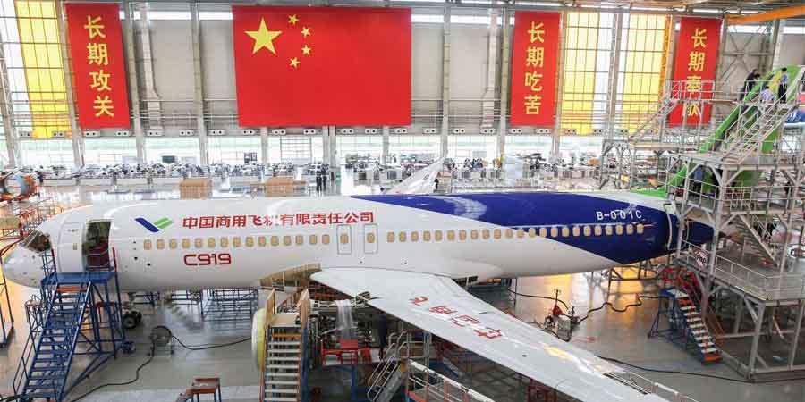 Conclusão do acabamento da aeronave C919 em Shanghai