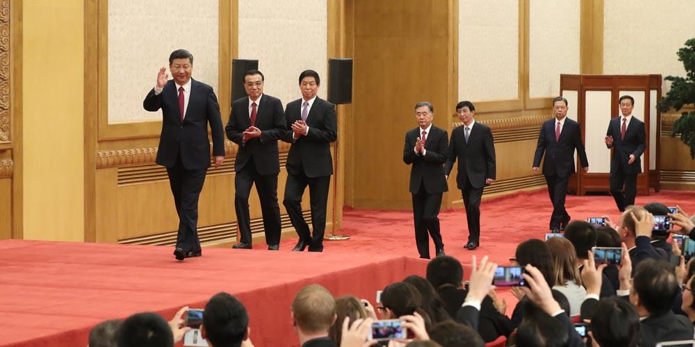 Xi lidera nova liderança do PCC em encontro com a imprensa