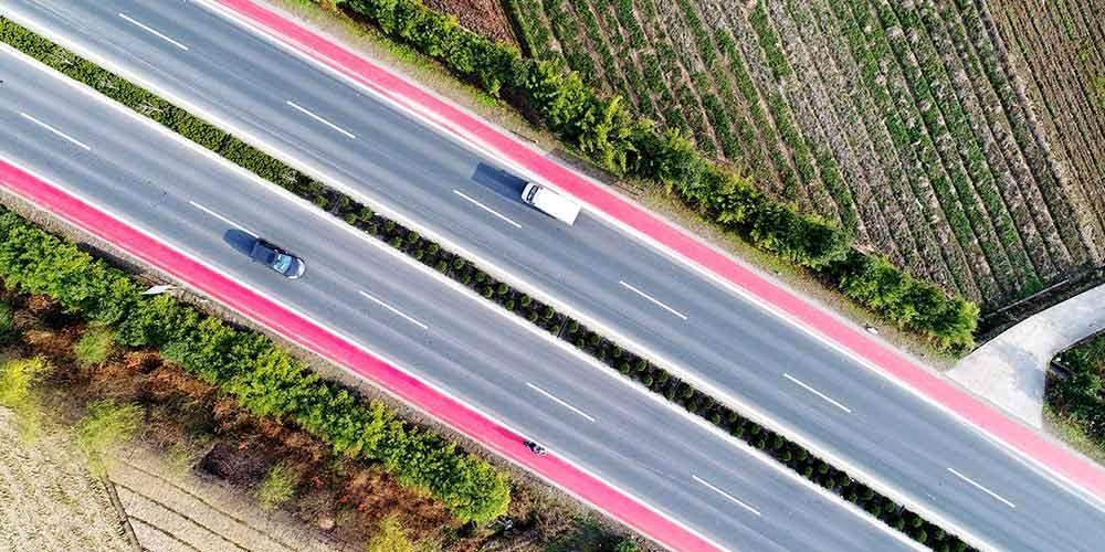 Estrada colorida em Zhejiang, no leste da China
