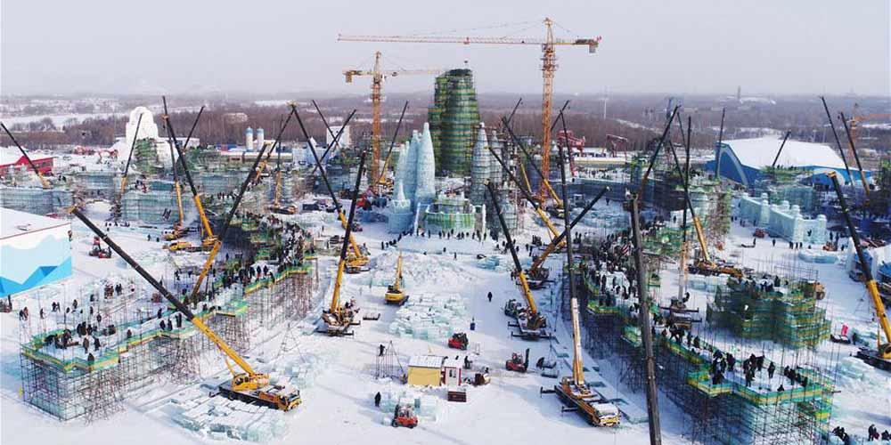 Construção do parque Mundo de Gelo e Neve em Harbin