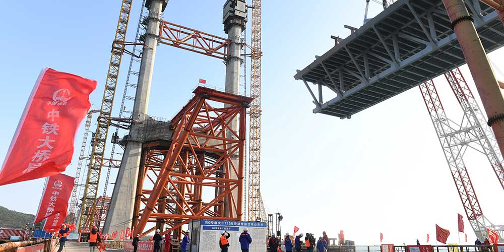 Construção da Ponte rodo-ferroviária de Pingtan em Fujian