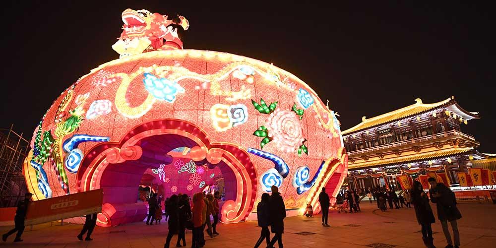 Festival de Lanternas do parque temático Paraíso Tang em Xi'an