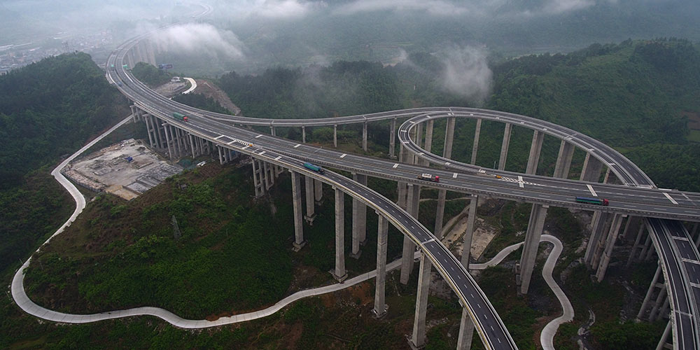 Vista aérea de vias expressas em Hunan, centro da China