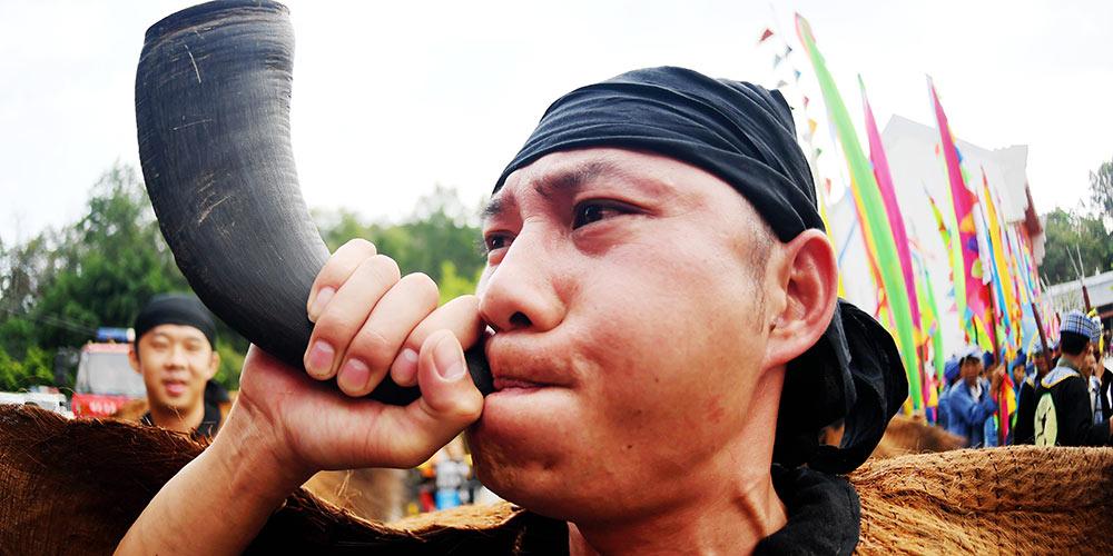 Festival de turismo cultural folclórico Buluotuo realizado em Guangxi, sul da China
