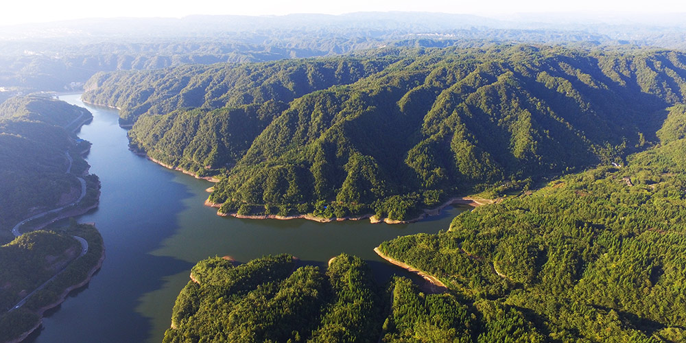 Paisagem do lago Taiyang em Chongqing, sudoeste da China