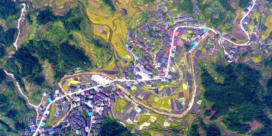 Campos de terraço em Giangci, sul da China