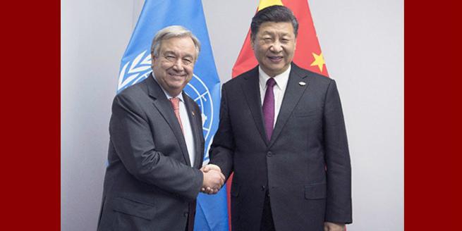 Presidente chinês destaca multilateralismo em reunião com chefe da ONU