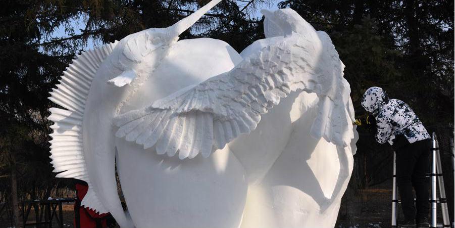 6º Concurso de Escultura de Neve para Estudantes da província de Heilongjiang abre em Harbin