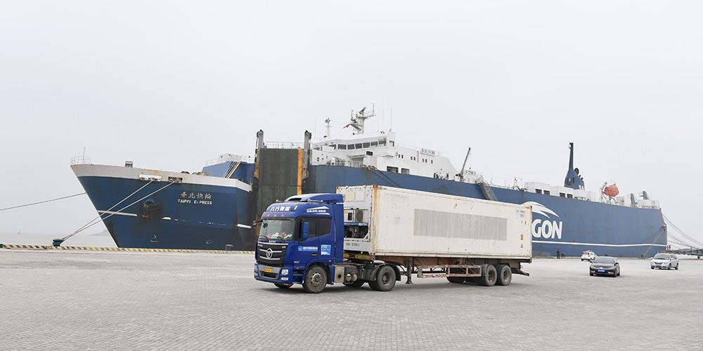 Cargueiro chega a porto de Pingtan através de rota direta de carga marítima entre Kaohsiung e Putian