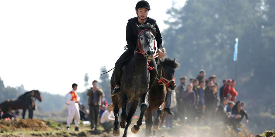 Corrida de cavalos realizada em Guizhou para celebrar Ano Novo Lunar Chinês