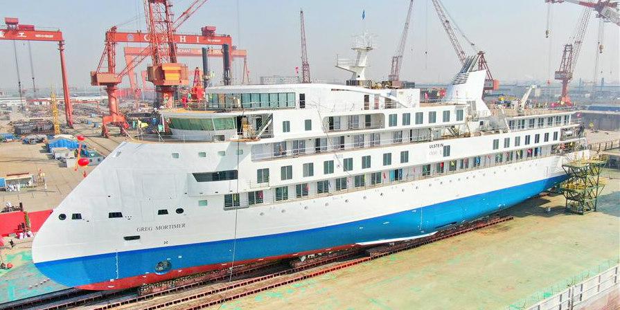 Primeiro navio de cruzeiro polar fabricado na China é testado na água