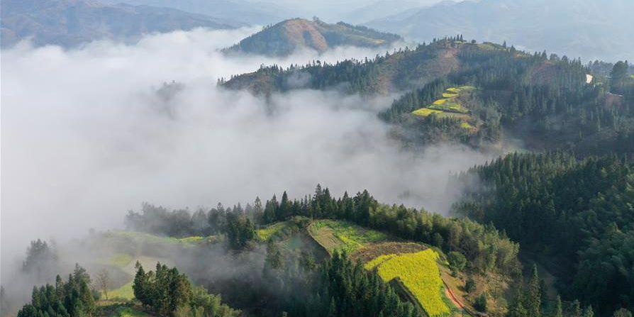 Fotos: Montanha envolta em névoa em Guangxi