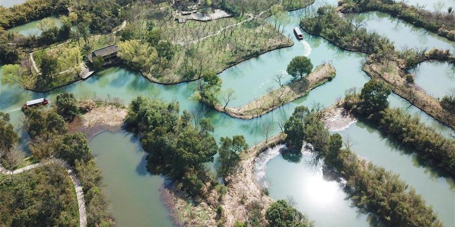 Vista aérea do Parque Nacional do Pantanal Xixi em Hangzhou