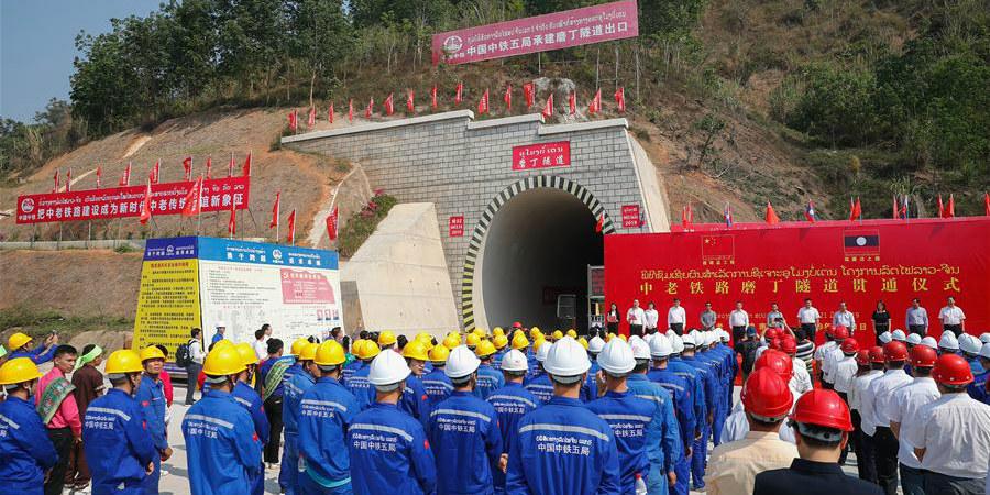 Primeiro grande túnel com mais de 5.000 metros perfurados ao longo da ferrovia China-Laos
