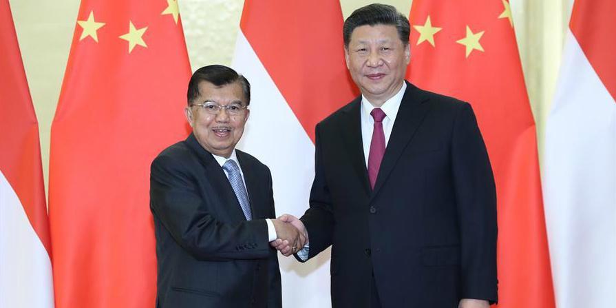 (Cinturão e Rota) Xi reúne-se com vice-presidente indonésio