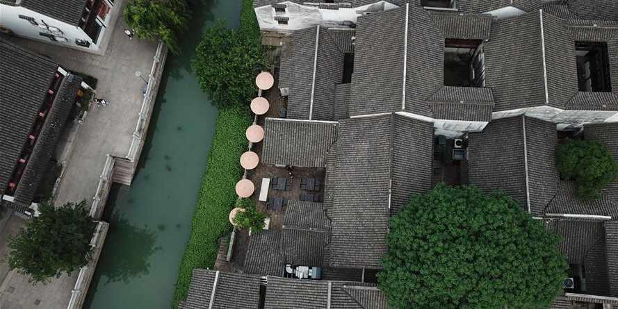 Quarteirão histórico e cultural transformado em área moderna na província de Zhejiang, leste da China