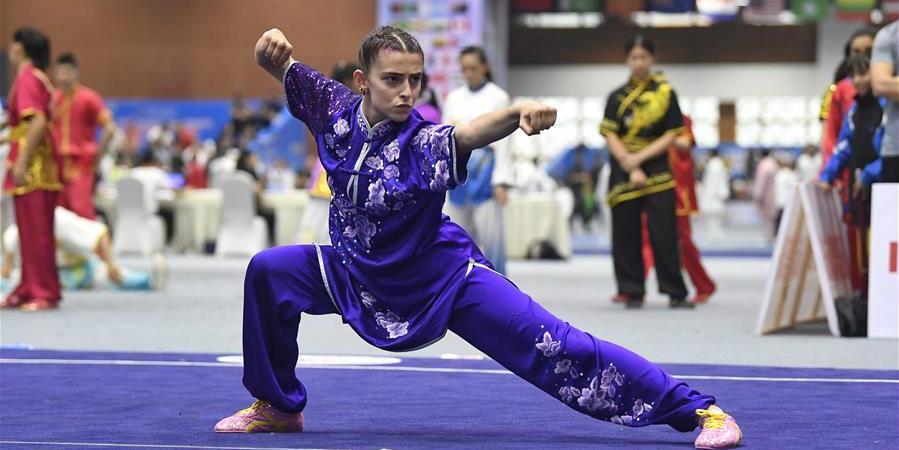 Destaques do 8º Campeonato Mundial de Kungfu em Emeishan, província de Sichuan