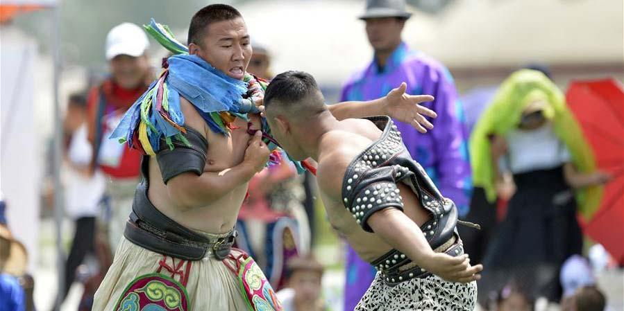 Competição de luta livre mongol realizada em Hohhot, norte da China