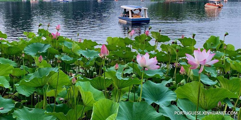 Turistas passeiam por Shichahai em Beijing