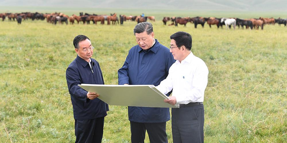 Xi faz visita de inspeção em Shandan, província de Gansu