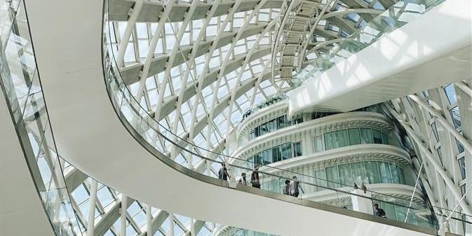 Vista interior do prédio do Centro Phoenix em Beijing