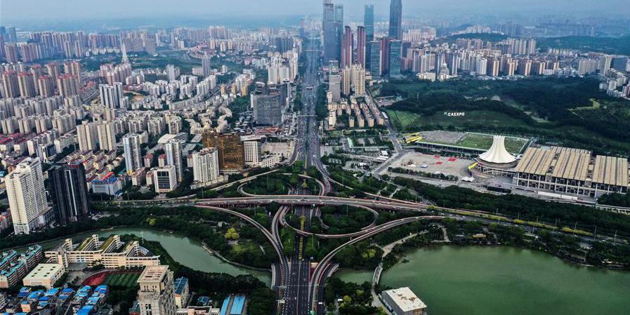 Vista aérea de Nanning, em Guangxi, no sul da China