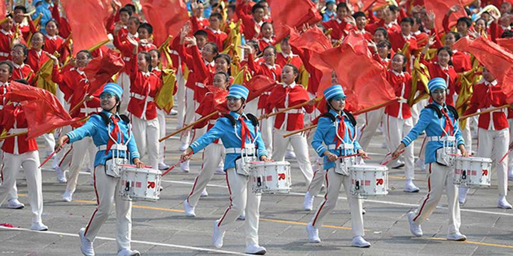 Desfile de massa realizado na Praça Tian'anmen