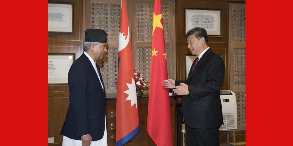 Xi se reúne com chefe do Partido do Congresso Nepalês