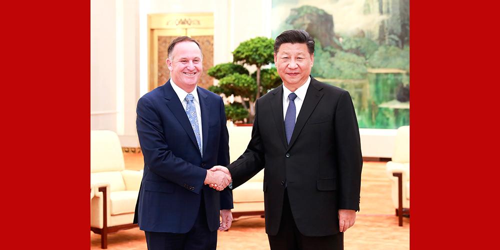 Presidente chinês se reúne com ex-premiê neozelandês John Key