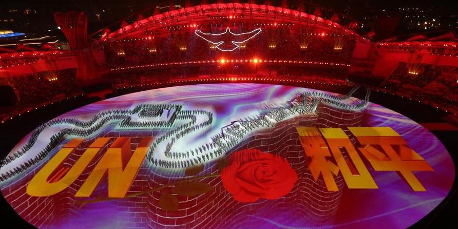 Apresentação artistíca na cerimônia de abertura dos 7º Jogos Mundiais Militares do CISM em Wuhan