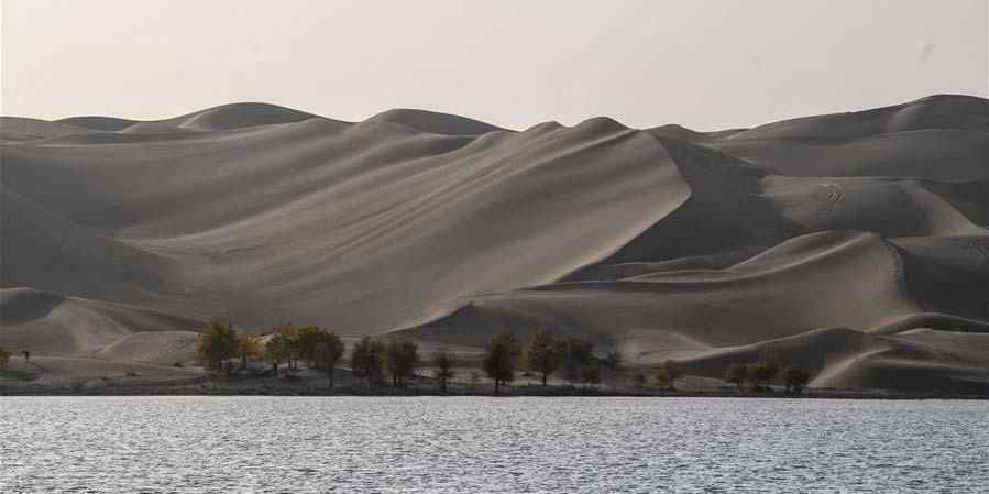 Vista de outono do lago Lop em Xinjiang, noroeste da China