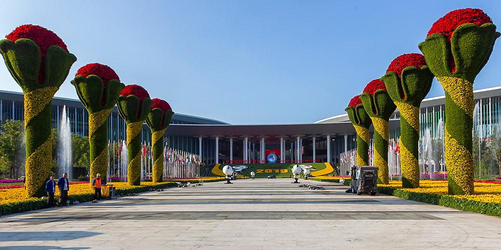 Decorações de flores do local da Exposição de Importação da China